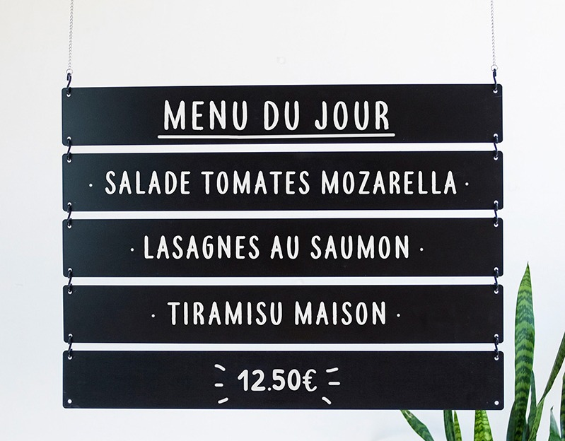 Menu Board - Lattes suspendues ardoise